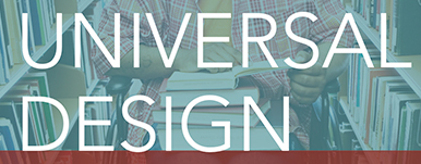 universal design text on teal background